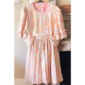 80s Vintage Puffed Sleeve Fit Flare Floral Dress